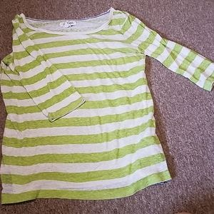 3/4 sleeve green and white striped top